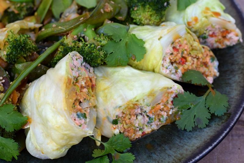 Karola's Kitchen - Aziatische koolrolletjes met zalm