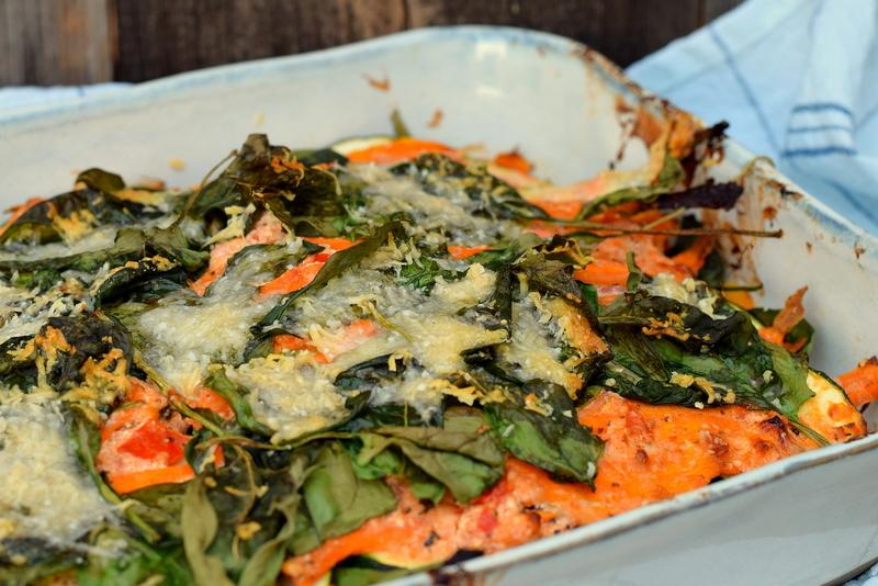 Karola's Kitchen - Ovenschotel met courgette, wortel en spinazie